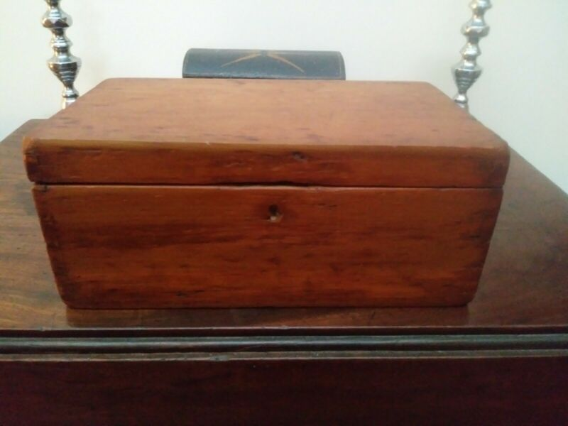 Early Wooden Document Box 19th Century Dovetailed Wooden Box