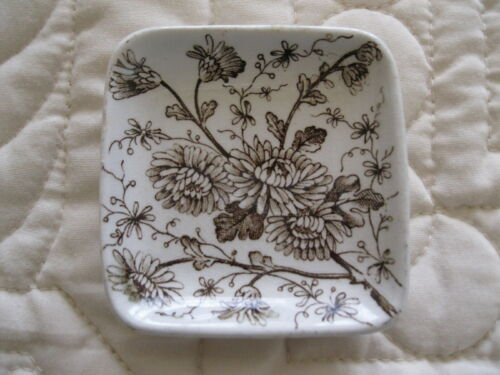 ANTIQUE SQUARE ENGLISH BROWN TRANSFERWARE BUTTER PAT MUM FLOWERS