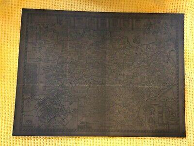 Vintage John Speed Kent Map Dark Brown Backed On Hard Card