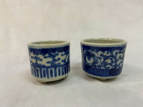 Two Chinese porcelain blue & white footed pots.  H  3.5 inch. D 3.5 inch.