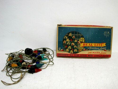 Vintage REAL-LITE No. 108K Christmas Lights w/Mazda Lamps & Original Box