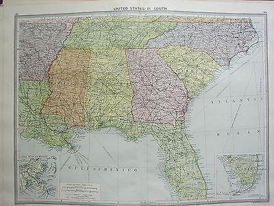 1920 LARGE MAP ~ UNITED STATES SOUTH ~ FLORIDA GEORGIA CARONLINA MISSISSIPPI