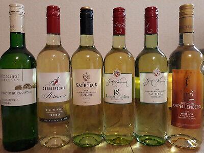 (8,00€/1L.) 6 Flaschen Weißwein Probierpaket Kaiserstuhl, Bodensee, Goldmedaille