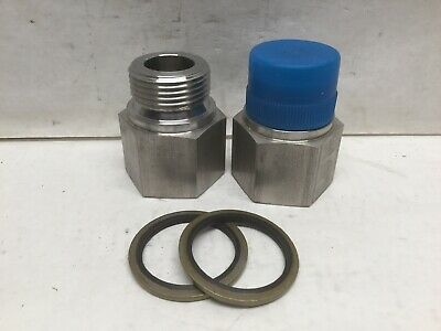 Parker Hydraulic Fitting 1 Nptf X 1 Male Bspp W Crush Ring Lot Of 2