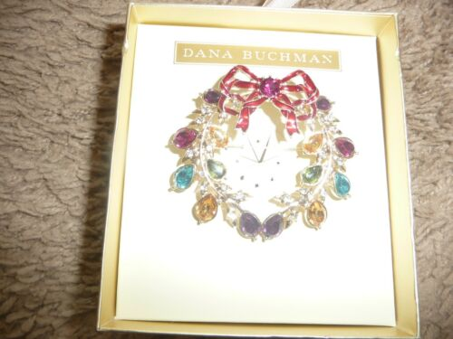 Dana Buchman Rhinestone Brooch Christmas wreath Pin-Colorful Stones-NEW
