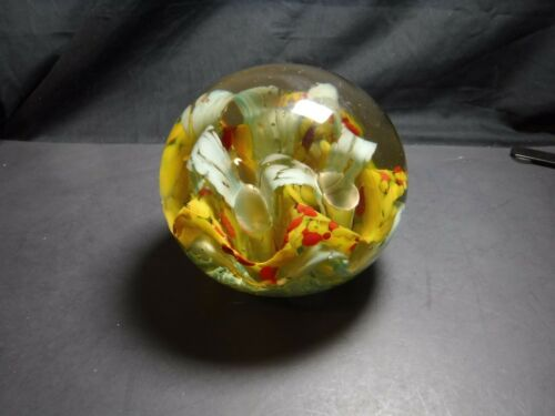 HUGE Vintage GLASS PAPERWEIGHT Flowers Mercury Bubble 9 LB Yellow White Large 6""