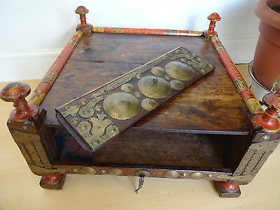 Lovely Vintage Wooden Pakistan / Afghanistan Pray Prayer Stool With Compartment
