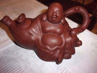 """Marked Old Pottery Buddha  Teapot Tea Pot 7.25"""" long -  LOTDEB"""