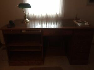 Executive oak desk and chair