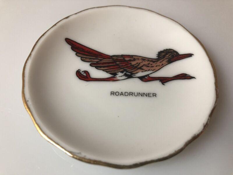 """Vintage Porcelain Butter Pat 3""""D Gold Trim with Roadrunner Focal Point"""