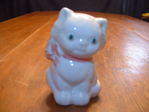 Adorable Vintage Kitten with Pink Bow Pottery Still Bank