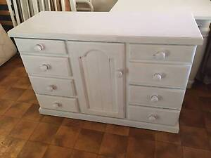 WHITE PAINTED SOLID PINE CABINET /DRESSER- 8 DRAWERS/CUPBOARD Pymble Ku-ring-gai Area Preview