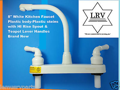 "RV, Mobile, 8"" White Kitchen Faucet Plastic Body High Rise Spout & Teapot Lever"