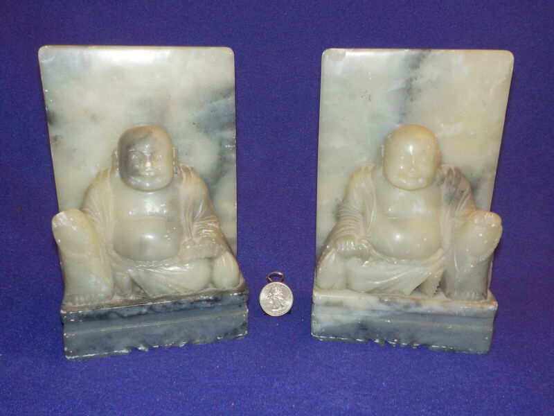 BEAUTIFUL VINTAGE CHINESE CARVED MARBLE BUDDHA BOOKENDS  Exc Cond