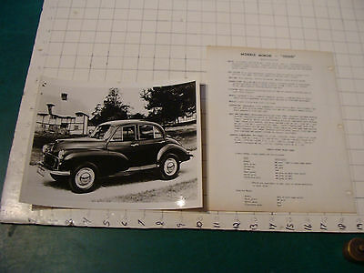 "vintage Original auto dealership 1950's MG MORRIS MINOR ""1000"" w specs"