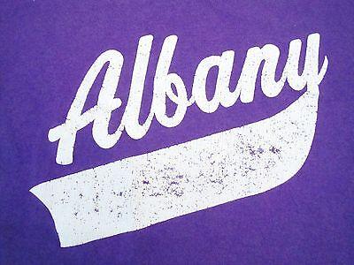 Vintage Albany New York NY Tourist Souvenir Purple Baseball-Style T Shirt XS
