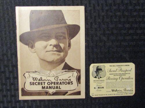 1937 MELVIN PURVIS Secret Operators Manual & Passport VG/VG+ Junior G-Men