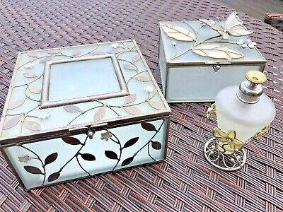 Beautiful Frosted Art Deco Vintage Enamelled Glass boxes & perfume bottle set 3