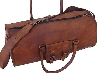 """New Men's duffel genuine Leather large vintage travel gym 24"""" lightwieghted bag"""