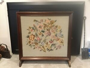 Antique Hand Embroidered Fire screen