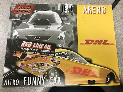 JEFF AREND 2008 DHL FUNNY CAR NHRA 8.5 X11 HERO CARD