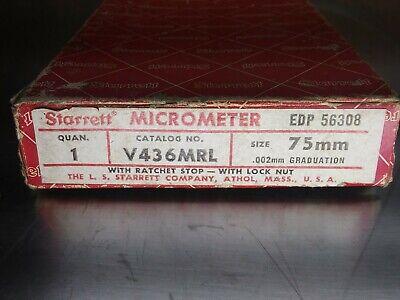 New Starrett V436mrl 75mm Metric Outside Micrometer Caliper Edp Number 56308