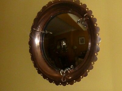 Antique Vintage Fish Eye Cortex Mirror Copper Brass Art Wall Decor Rare Original