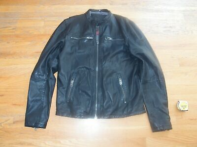 SUPERDRY REAL HERO LEATHER JACKET--motorcycle-bomber-LARGE-euc-great price