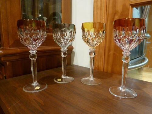 4 German Echt Bleikristal Bohemian Wine Glass Cut to Clear Crystal Multi Color