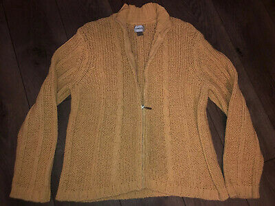 Chicos Heavy Cable Knit Yellow Sweater Jacket Size Full Zip Front Heavy Knit Jacket