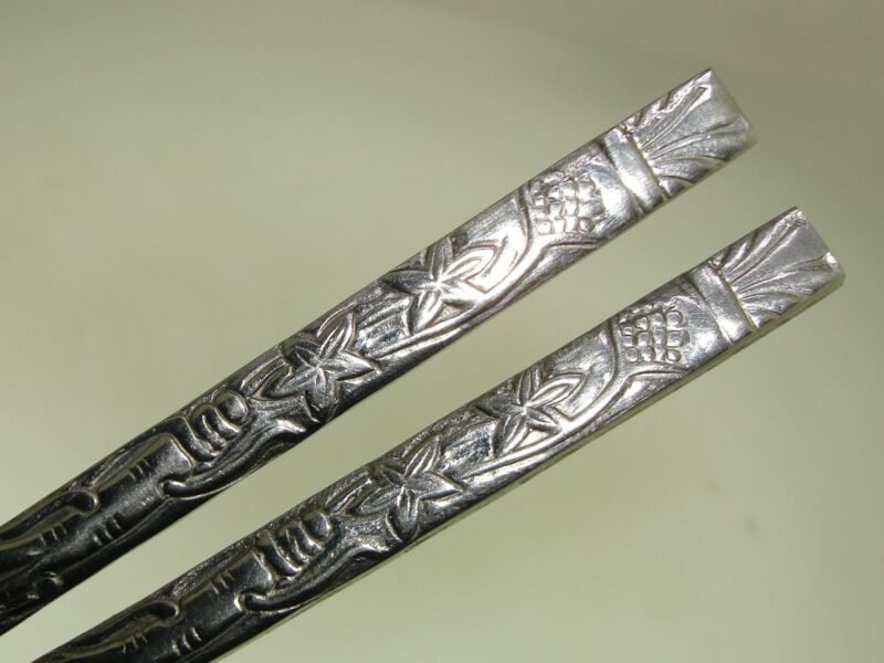 "PAIR 8"" UNIQUE OLD CHINESE LOVELY ORNATE SILVER HAIR PINS!"