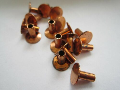 "25 VINTAGE COPPERED 5/16"" x 1/8"" SEMI HOLLOW TUBULAR RIVETS, 3/8"" HEAD"