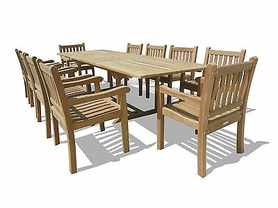 """Windsor Genuine Grade A Teak 118""""x39 Extension Table w/ 10 Majestic ArmChairs"""