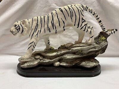 """11/"""" China Old gilt White Jade hand Carved large lucky Zodiac tiger statue"""