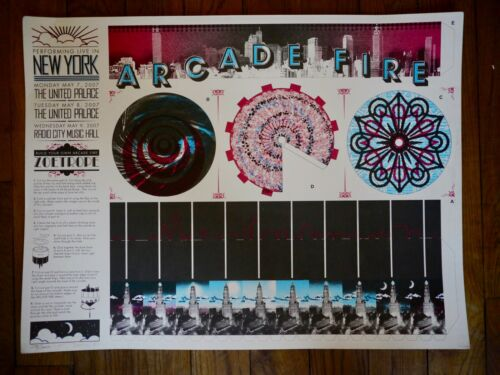 Arcade Fire Poster - New York 2007-  Burlesque Signed and numbered