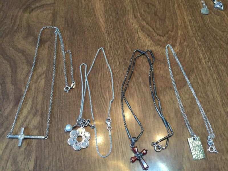 """Sterling Silver Lot Of Four 14""""-18"""" Necklaces Some Stones"""