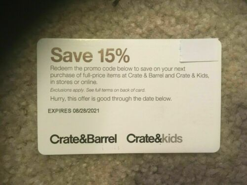 Crate&Barrel/Crate&Kids 15% Off Coupon. In-Store Or Online. Expires 9/30/2021