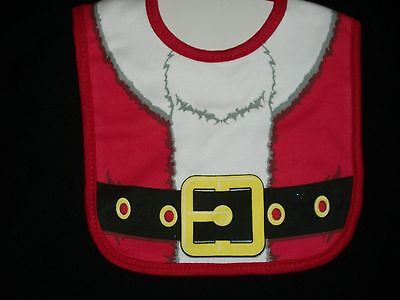 Santa Suit Baby Bib Embelle Red Cotton Winter Christmas Holiday Velcro Belt