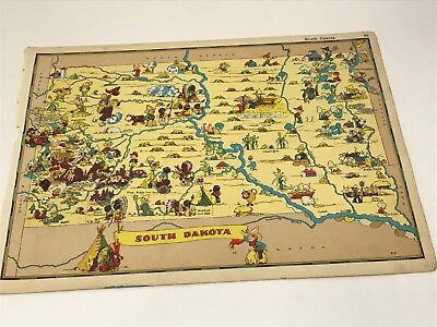1935 RARE ANTIQUE VINTAGE CARTOON SOUTH DAKOTA MAP USA GAY GEOGRAPHY PICTORIAL ()