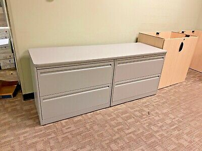 Lot Of 2 - 2dr Lateral File Cabinets W 1 Piece Top By Haworth Office Furniture