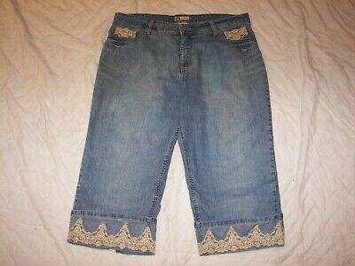 Faded Glory Capri Jeans - Women's Faded Glory Stretch Capri Jeans with Lace Trim- 20W