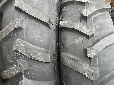 Two 13.6x2813.6-28 John Deere 2030 8 Ply R 1 Bar Lug Tractor Tires With Tubes