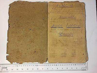LOT IDA0198 Manuscript 18th Century American Math Studies Book With Orig Quill