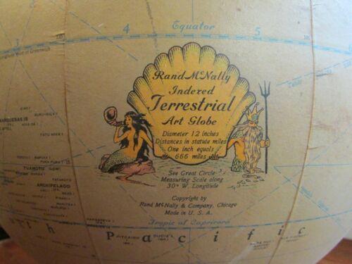 Rand McNally Light-Up Globe, 1930s Mermaid, Replacement Globe