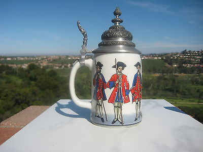 VINTAGE REUTTER PORCELAIN REGIMENTAL MILITARY STEIN FIGURAL LID GERMANY