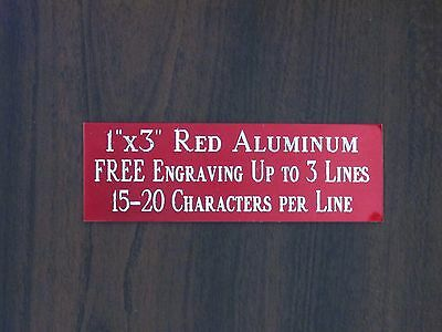 Free Custom Engraved 1x3 Red Name Plate Art-trophies-gift-taxidermy-flag Case