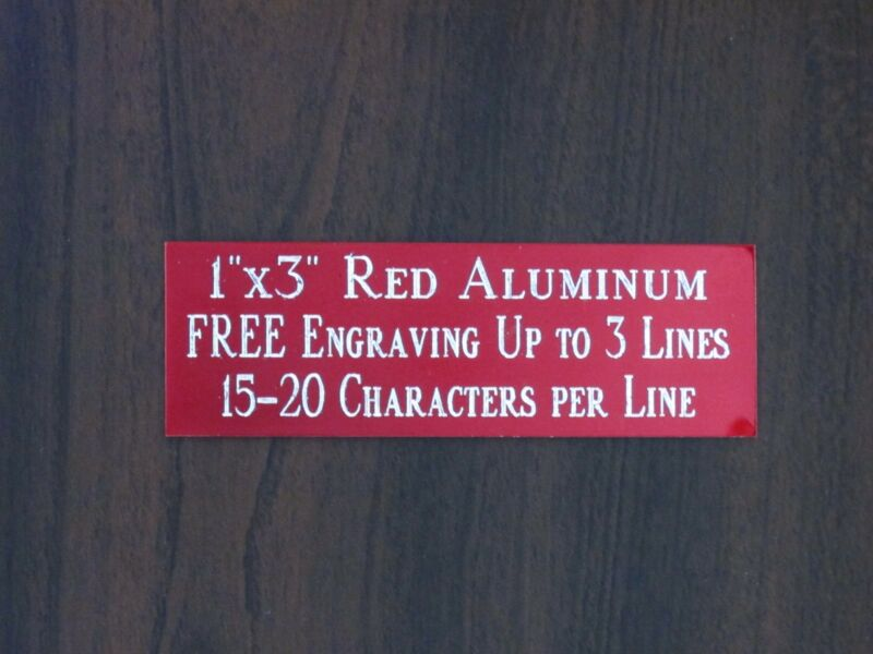 """FREE CUSTOM ENGRAVED 1""""x3"""" RED NAME PLATE ART-TROPHIES-GIFT-TAXIDERMY-FLAG CASE"""