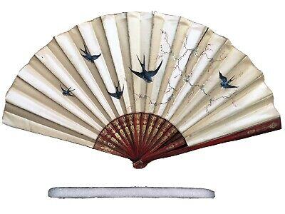 bright red hand held fan oriental Chinese wooden fan bamboo laquered fan in red with handpainted flowers Vintage folding fan