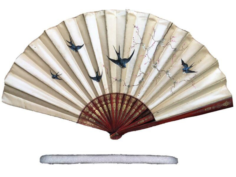 Vintage Asian Silk Hand Painted Fan