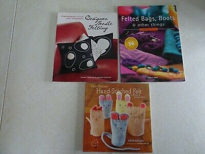 Lot 3 Books Needle Felting Hand Stitched Felted Bags Boots Projects Patterns Sew Needle Felting Projects